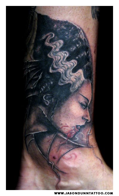 Bride of Frankenstein Tattoo by Jason Dunn