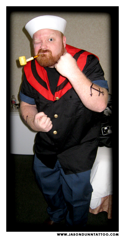 Award Winning Tattoo Artist Jason Dunn as Popeye on Halloween.